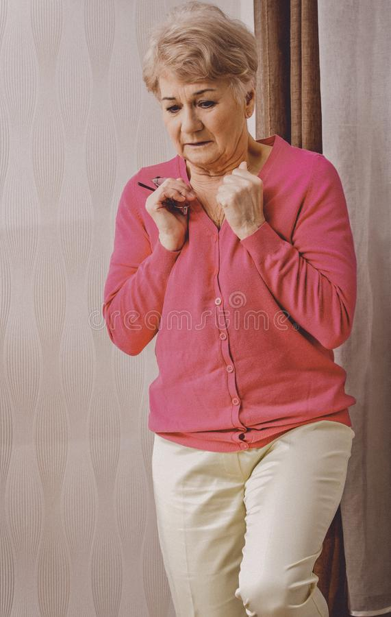 Woman with musofobia stock photos