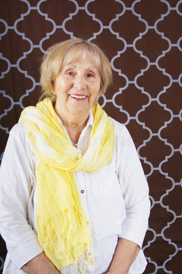 Senior woman with scarf royalty free stock photo