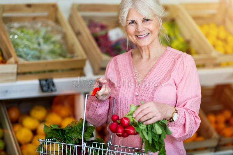 Woman shopping in small grocery store. Senior woman shopping in small grocery store stock photography