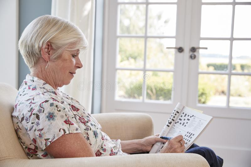 Senior woman sitting in armchair doing a crossword at home royalty free stock images