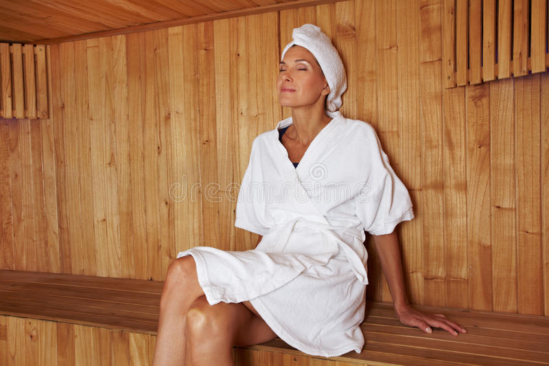 Download Senior Woman Sitting In Sauna Stock Photo - Image: 24862906