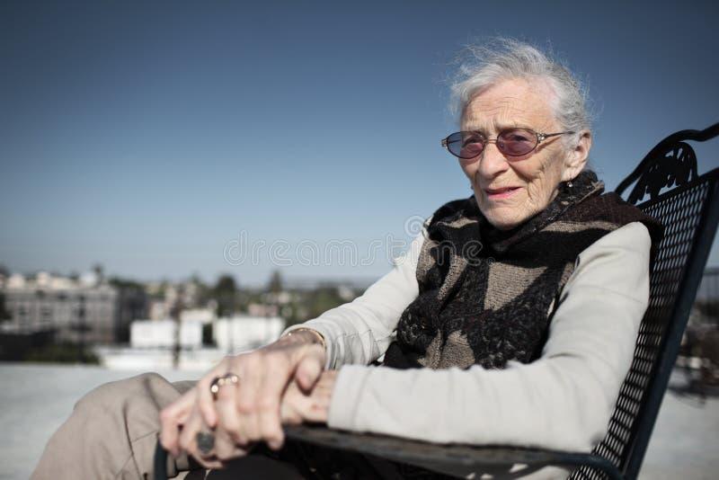 Senior woman smiling royalty free stock photos