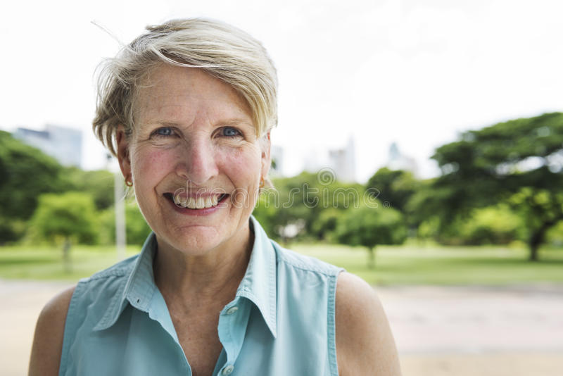 Senior Woman Smiling Lifestyle Happiness Concept stock image