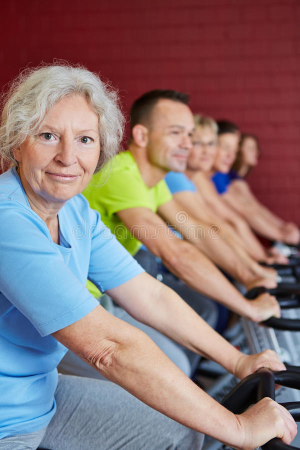 Download Senior Woman In Spinning Class Stock Photo - Image: 27832616