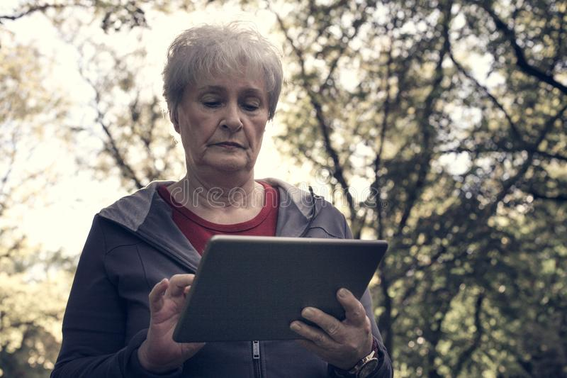 Senior woman standing in forest and typing on iPod. Clo stock images
