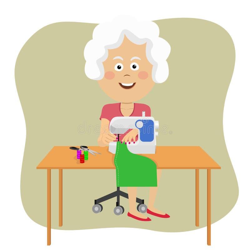 Senior woman stitching fabric using a sewing machine royalty free illustration