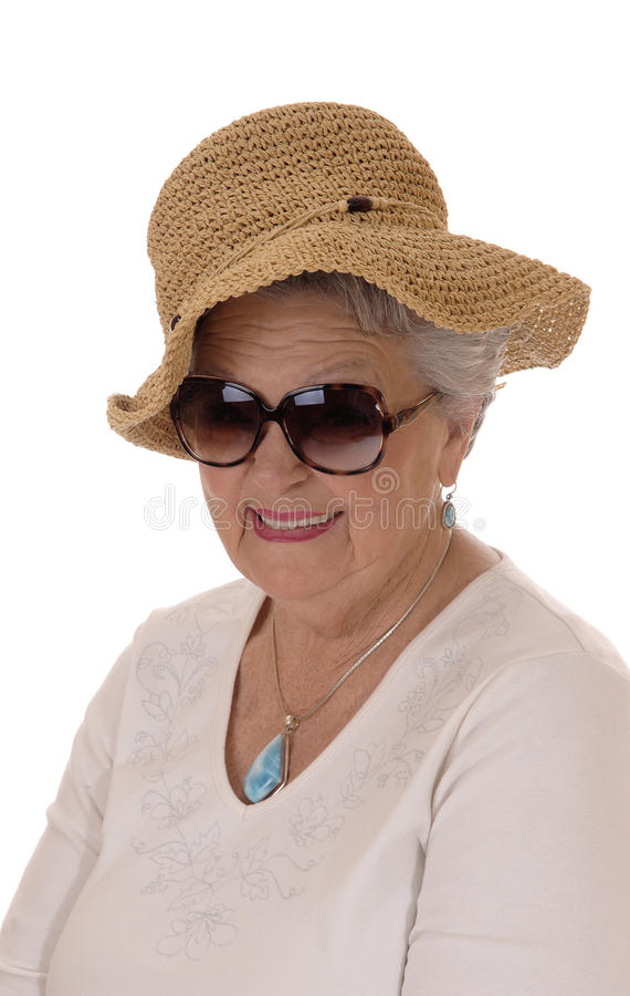 Senior woman with straw hat. royalty free stock photo