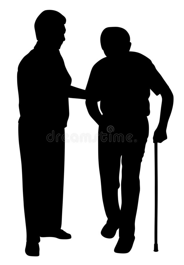 Senior woman supporting senior man with walking stick royalty free illustration