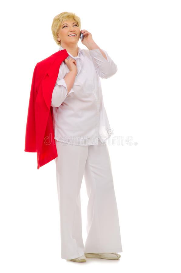 Download Senior Woman Talking By Mobile Phone Stock Photo - Image: 23243220