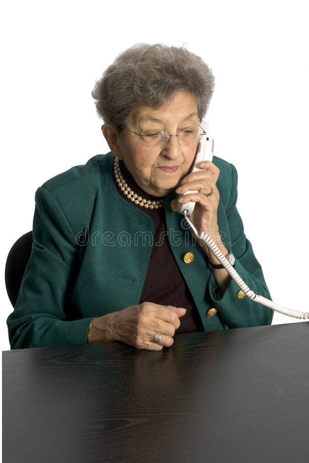 Senior woman telephone stock photo