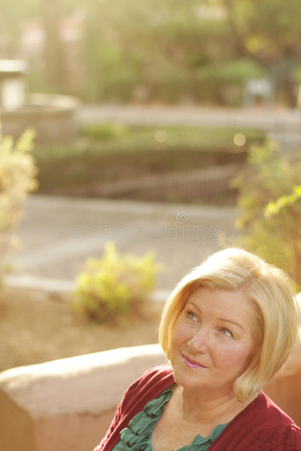 Senior Woman Thinking Royalty Free Stock Photography