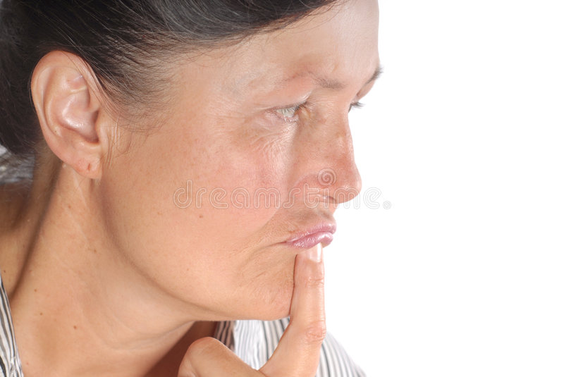 Senior woman in thought stock photos