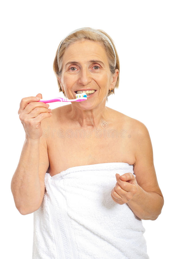 Download Senior Woman With Tooth Brush Stock Photo - Image: 18149430