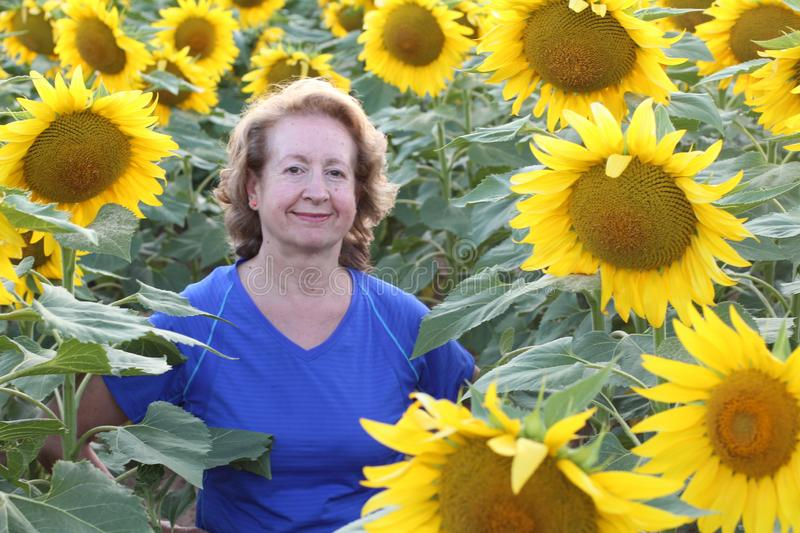 Senior woman in vibrant sunflower field.  royalty free stock images