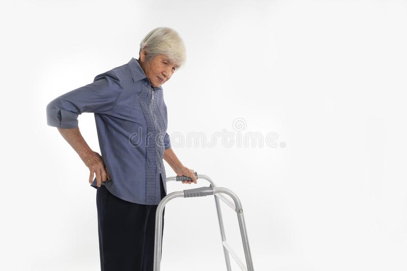 Senior Woman With Walking Frame has have a backache. Senior thai Woman With Walking Frame has have a backache stock photography