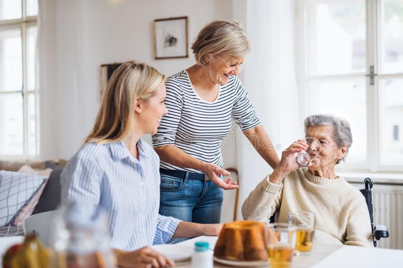 Senior woman in wheelchair with family sitting at the table at home, drinking. royalty free stock images