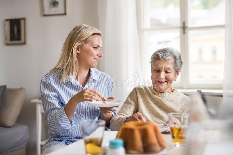 Senior woman in wheelchair with a health visitor sitting at the table at home, eating. A senior women in wheelchair with a health visitor sitting at the table stock images