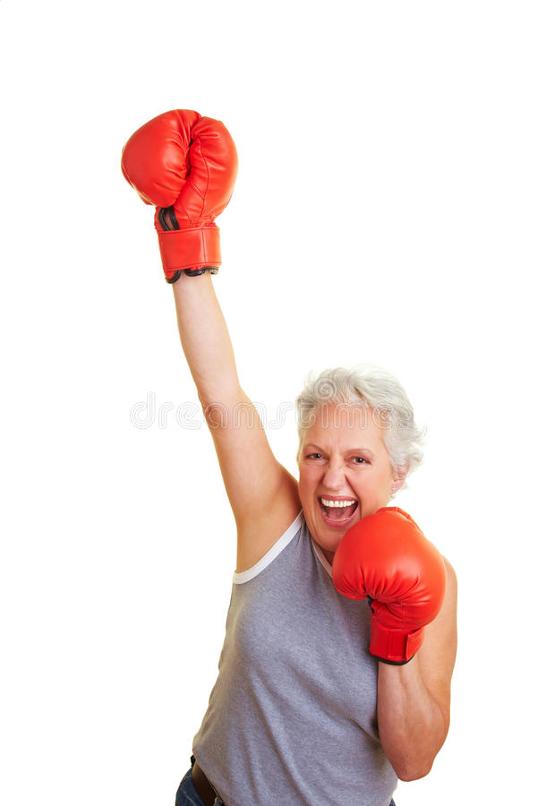 Senior woman winning box match royalty free stock photos