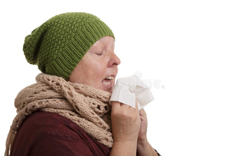 A senior woman in winter time with disease has to sneeze and blow into a handkerchief isolated on white background stock photography