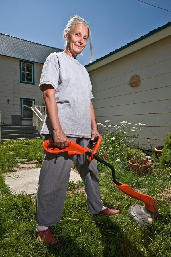 Senior woman working royalty free stock image