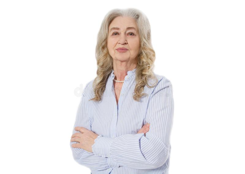 Senior woman with wrinkle face isolated on white background. Mature healthy lady. Copy space. Seniors lifestyle and old people royalty free stock image