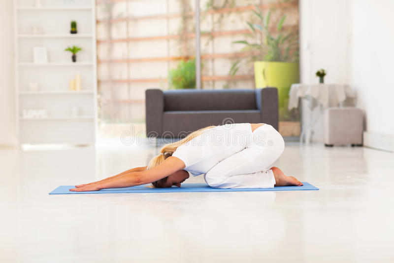 Senior woman yoga stock photography