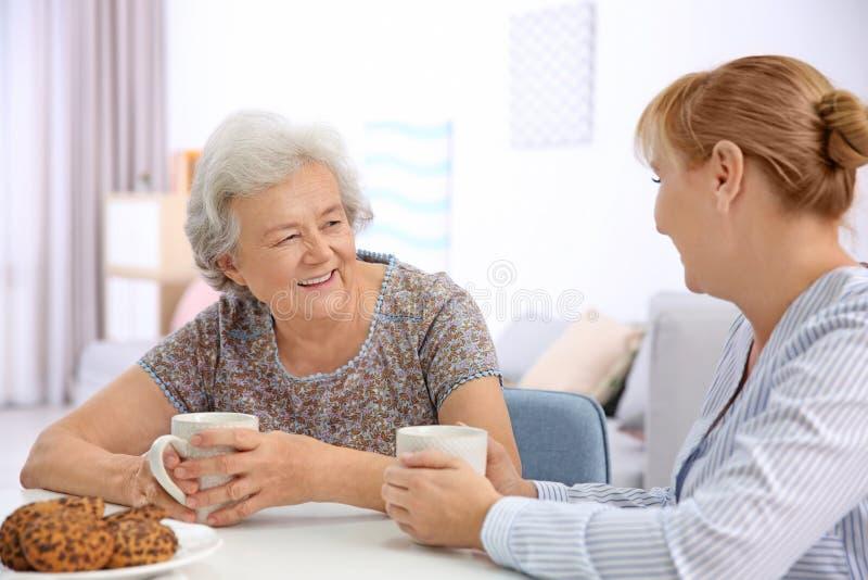 Senior woman and caregiver drinking tea. Senior women and caregiver drinking tea at home royalty free stock photo