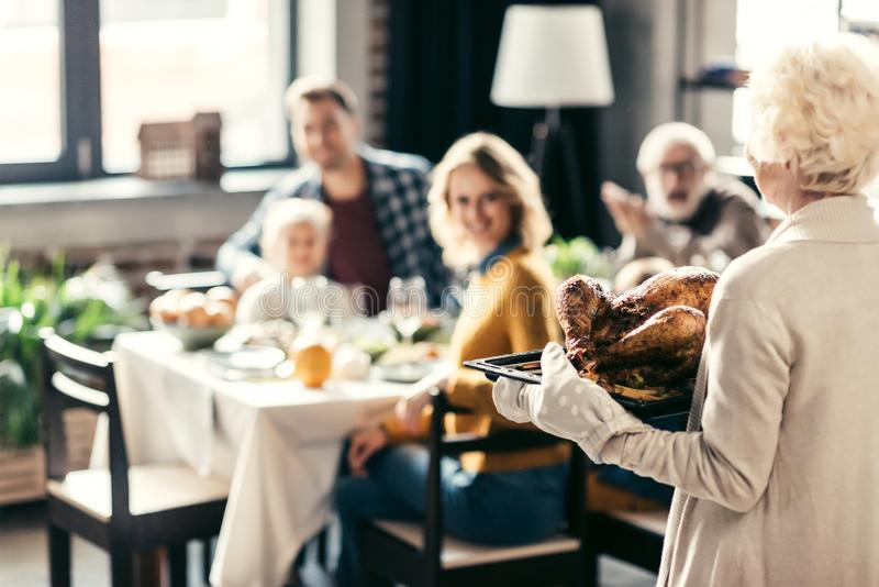 senior woman carrying thanksgiving turkey for holiday dinner royalty free stock image