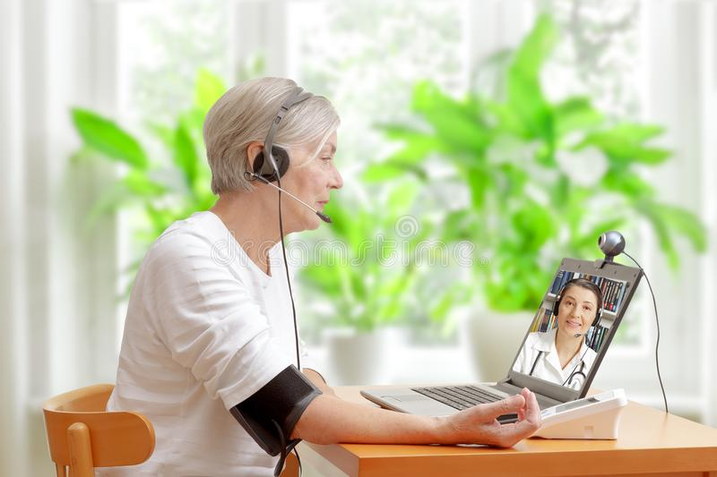 video call doctor high blood pressure royalty free stock photo