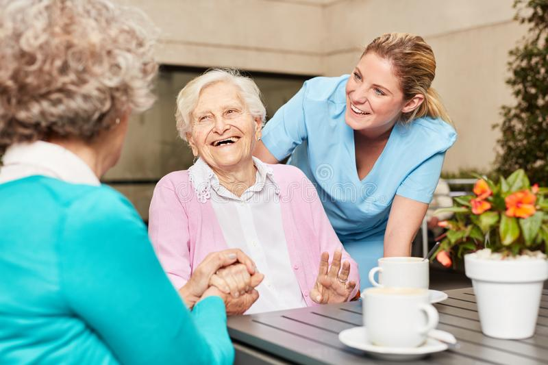 Senior women are laughing and having fun royalty free stock images
