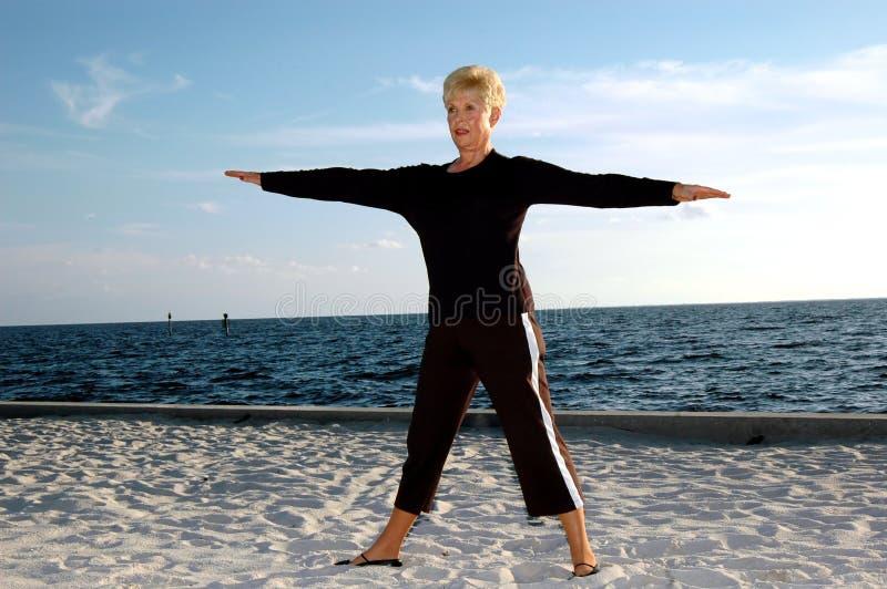 Senior yoga royalty free stock image