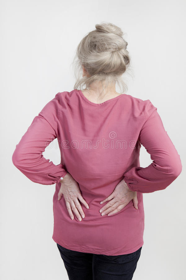 Senior z bólem pleców obraz stock