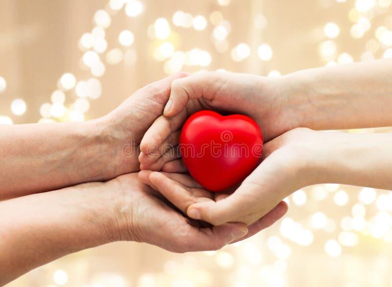 Seniora i młodego człowieka ręki trzyma czerwonego serce fotografia stock