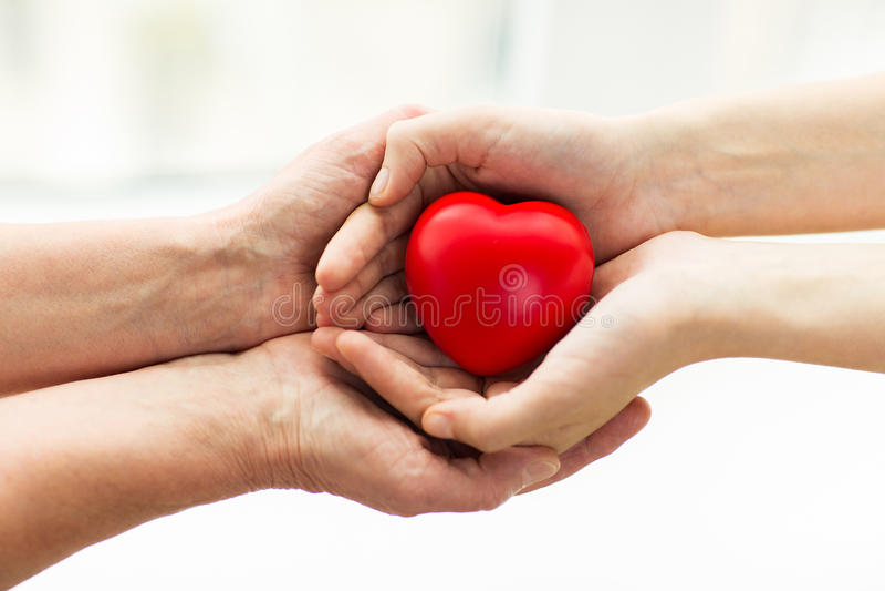 Seniora i młodej kobiety ręki trzyma czerwonego serce obrazy royalty free