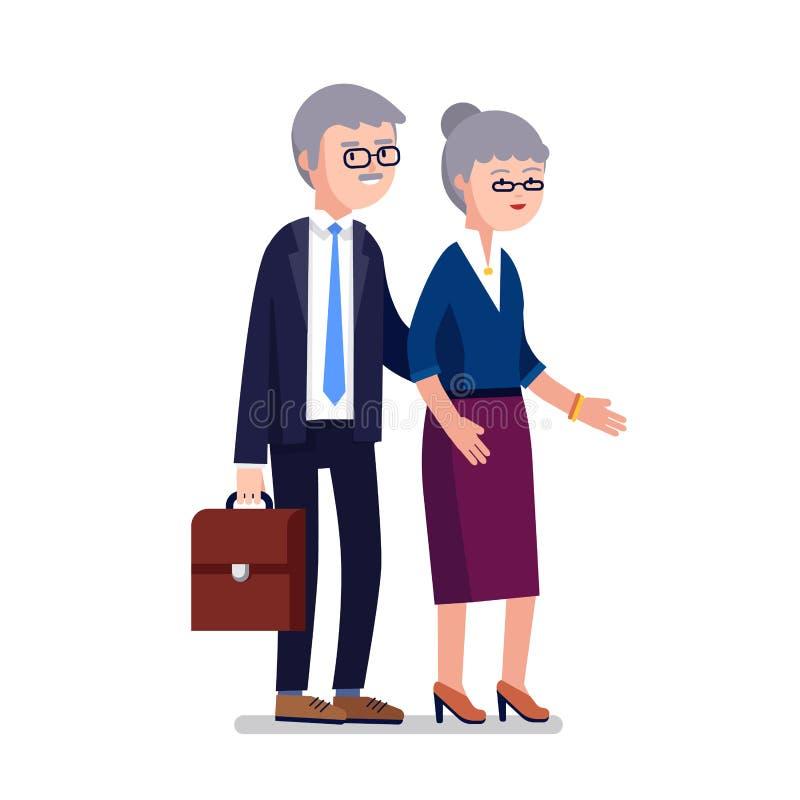 Seniora pełnoletni biznesowy mężczyzna i kobiety para royalty ilustracja