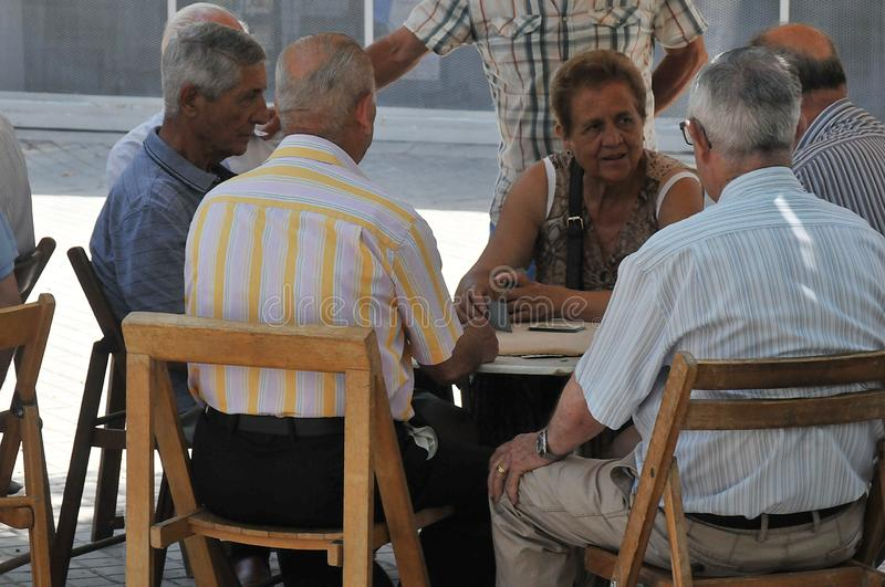 Seniorcitizen in Barcelona Spain. Barcelona/catalonia/ Spain/ 21.July 2019/Catalunyan Seniorcitizen of spain enjoy gether day and playing card in Barcelona Spain stock photography