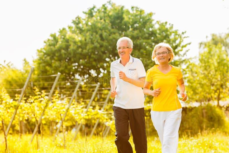 Senioren, die in die Natur tut Sport laufen lizenzfreies stockfoto