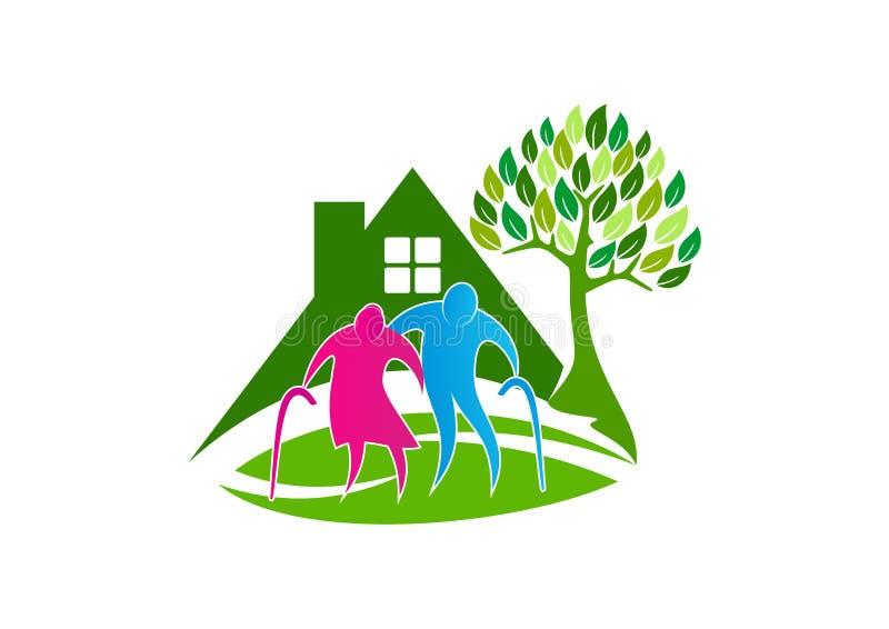 Seniorenbetreuungslogo, Symbolikone der älteren Leute, gesundes Pflegeheim-Konzeptdesign lizenzfreie abbildung