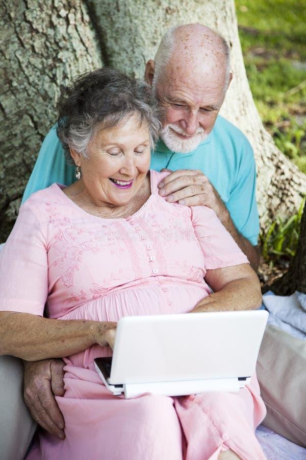 Seniors On 3G Network royalty free stock photography