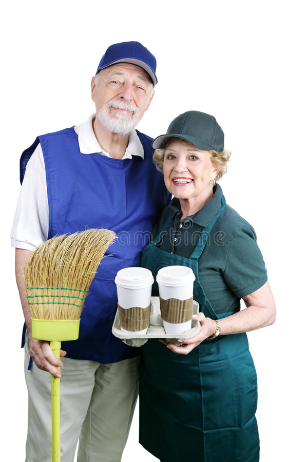 Download Seniors Back at Work stock image. Image of couple, apron - 3196705