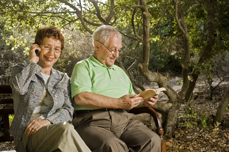 Download Seniors on a bench stock image. Image of relationship - 6361777