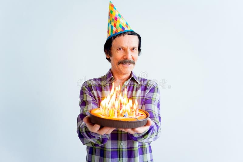 Seniors on a birthday party stock photography