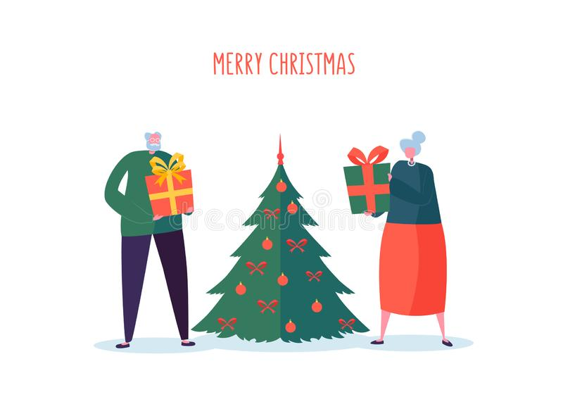Seniors with Christmas Tree. Elderly Couple Celebrating Winter Holidays. Grandfather and Grandmother on New Year Eve vector illustration