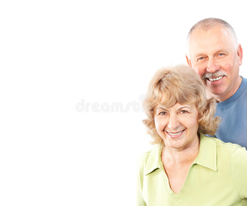 Seniors couple. In love. Isolated over white background royalty free stock image