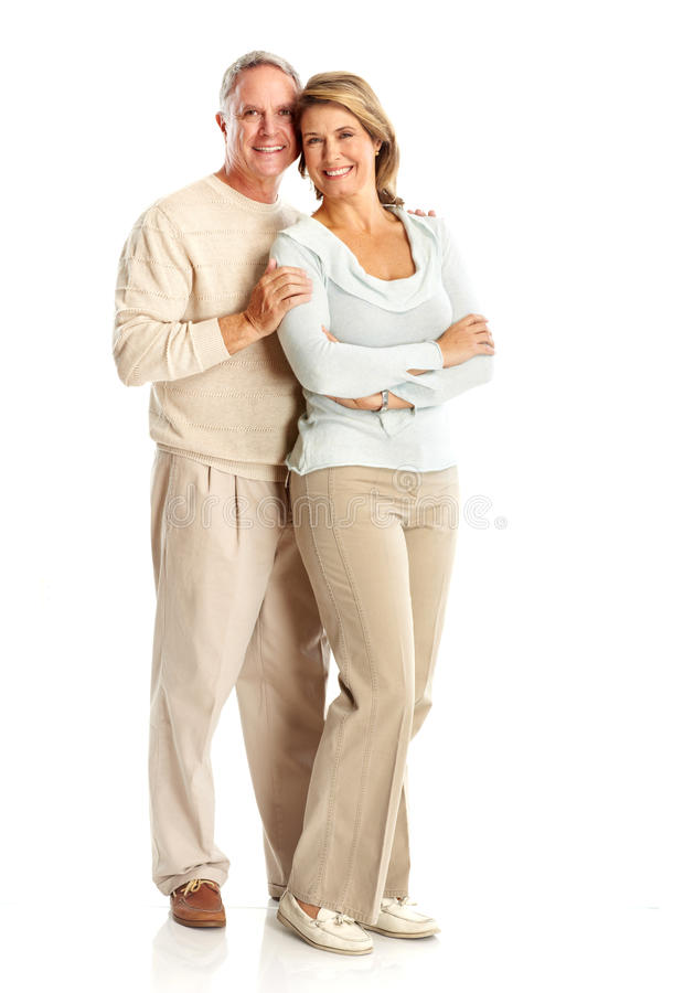 Seniors couple. Happy elderly seniors couple in love. Isolated over white background royalty free stock photos
