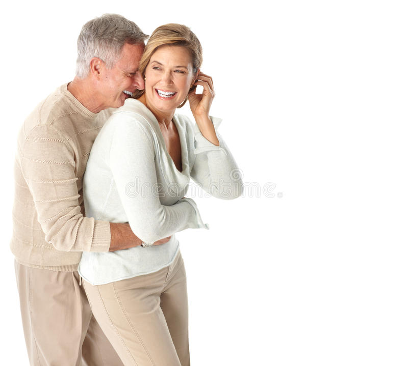 Seniors couple. Happy elderly seniors couple in love. Isolated over white background royalty free stock image