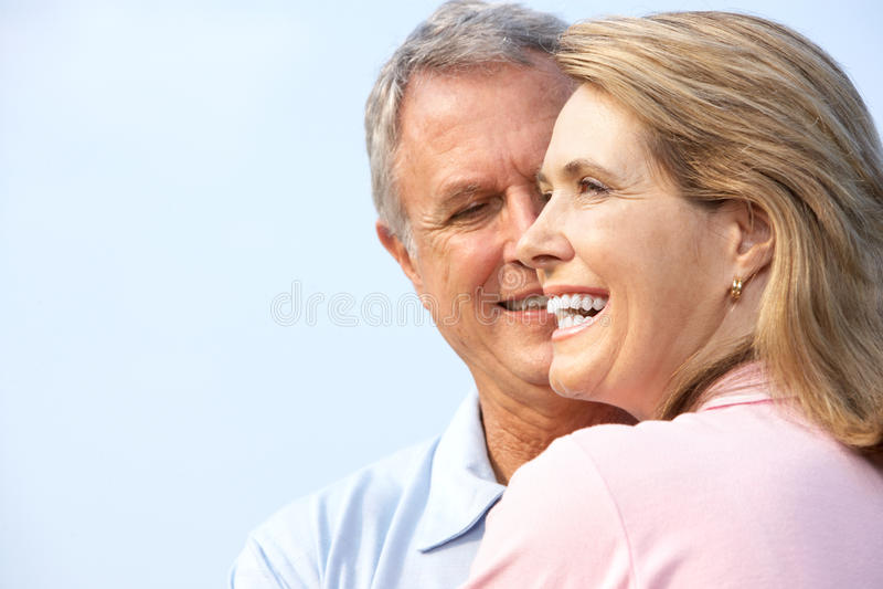 Seniors couple. Happy elderly seniors couple in park royalty free stock photos