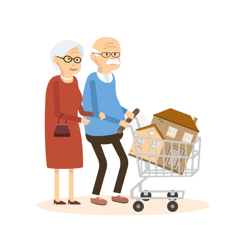 Seniors couple buying a home stock vector illustration for Buying an old house