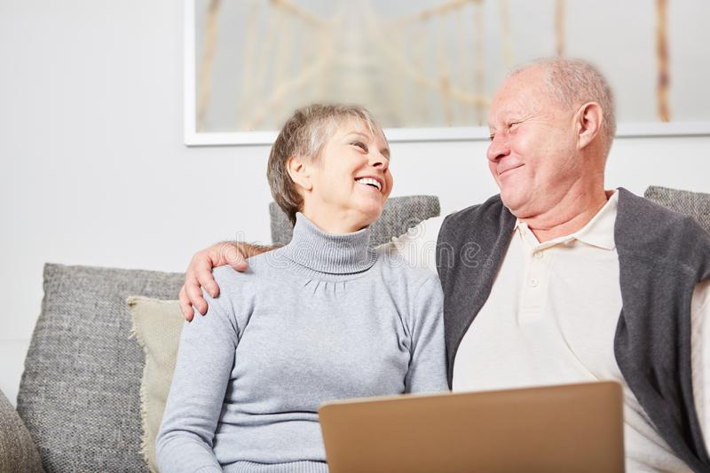 Seniors couple in love. Happily married hug each other royalty free stock photography