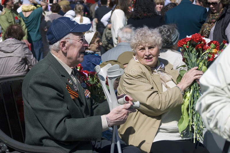 Seniors couple portrait. MOSCOW - MAY 09, 2015: Seniors couple portrait. Victory Day celebration in Moscow royalty free stock photo